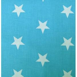 Tissu Grandes étoiles turquoise x10cm