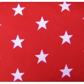 Tissu Grandes étoiles rouge x10cm