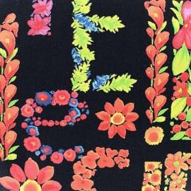 Tissu Poppy Dazzling Dahlia noir x 10cm