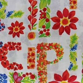 Poppy Lively Letters fabric - ecru x 10cm