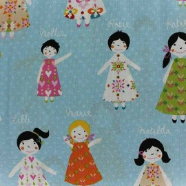 Tissu Poppy Girl Talk gris x 10cm