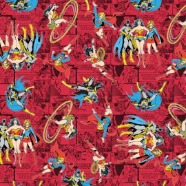 Tissu coton Girl Power II - Comics in Ruby x 20 cm