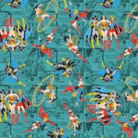 Tissu coton Girl Power II - Comics in Teal x 10 cm