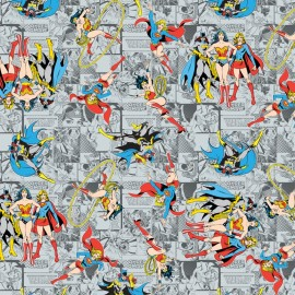 Tissu coton Girl Power II - Comics in grey x 10 cm