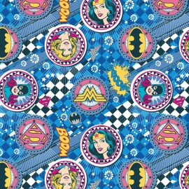 Tissu coton Girl Power II - Badges in blue x 10 cm