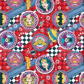 Tissu coton Girl Power II -Badges in Ruby x 10 cm