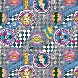 Tissu coton Girl Power II -Badges in Grey x 10 cm