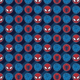 Cotton Fabric Spider Man II - Dots in Blue x 10 cm
