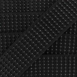 Black Lurex Elastic x 50 cm - Silver