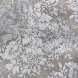 Simili cuir Baroque floqué velours écru x 10cm