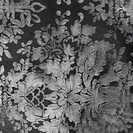 Imitation leather Baroque flocked velvet - black x 10cm