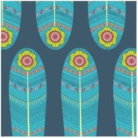 Tissu coton Petite plume - Navy Fan Feathers x 18 cm