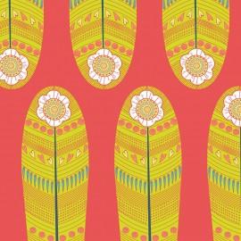 Tissu coton Petite plume - Yellow Fan Feathers x 18 cm