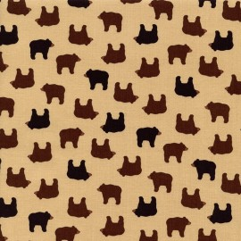 Mini Bears Fabric - Cream x 10cm