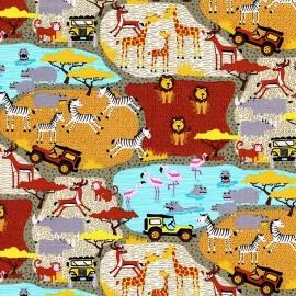 Tissu Mini Safari Scene x 10cm