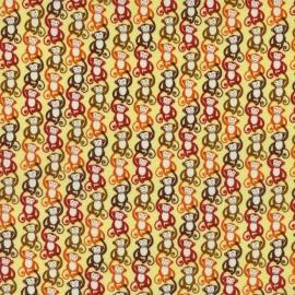 Tissu Mini Monkeys Orange x 10cm