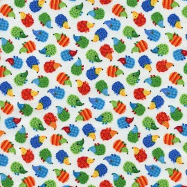 Mini Hedgehogs Fabric - White x 10cm