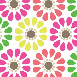 Tissu coton Bright Now - Multi Daisy x 10 cm