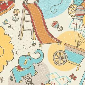 Playground - Fun times in Cream cotton fabric x 30 cm