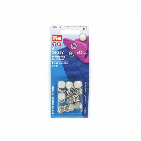 1 pack of 6 Jersey press fasteners refill 12 mm - pearly