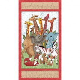 Tissu Wild Things - Animal Panel Multi x 10cm