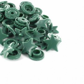 1 pack of 10 snap buttons star-shaped KAM - green