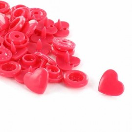 10 pressions cœurs Kam grenadine
