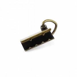 Belt buckle end tie with d-ring 29 mm - bronze