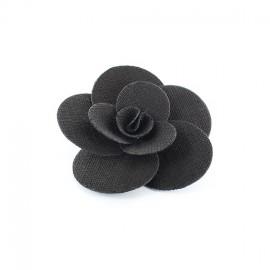 Broche Fleur Anémone noir