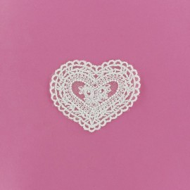 Lace heart Laurette iron-on applique - white