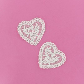 Lace heart Louise iron-on applique - white