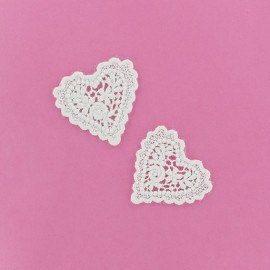 Lace heart Agnès iron-on applique - white