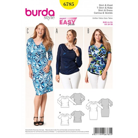 Shirt & Dress Sewing Pattern Burda n°6785