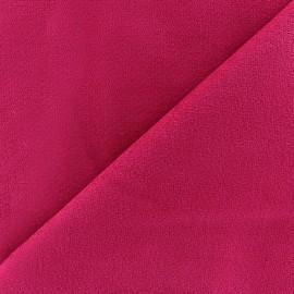 Tissu velours ras élasthanne fuchsia  x 10cm