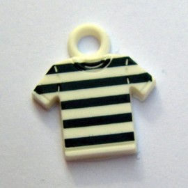 Polyester button, striped jersey - black and white