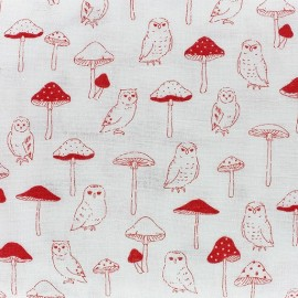 Red clover Kokka fabric - red x 10cm