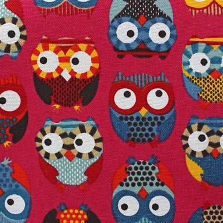 Cotton Canvas Fabric - Owls fuchsia  x 10 cm