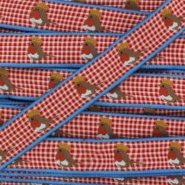 Woven Ribbon, Fantasy, gingham, royal robin - red