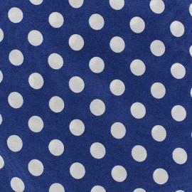 ♥ Coupon 30 cm X 110 cm ♥  Tissu Crêpe Pois blancs sur fond bleu