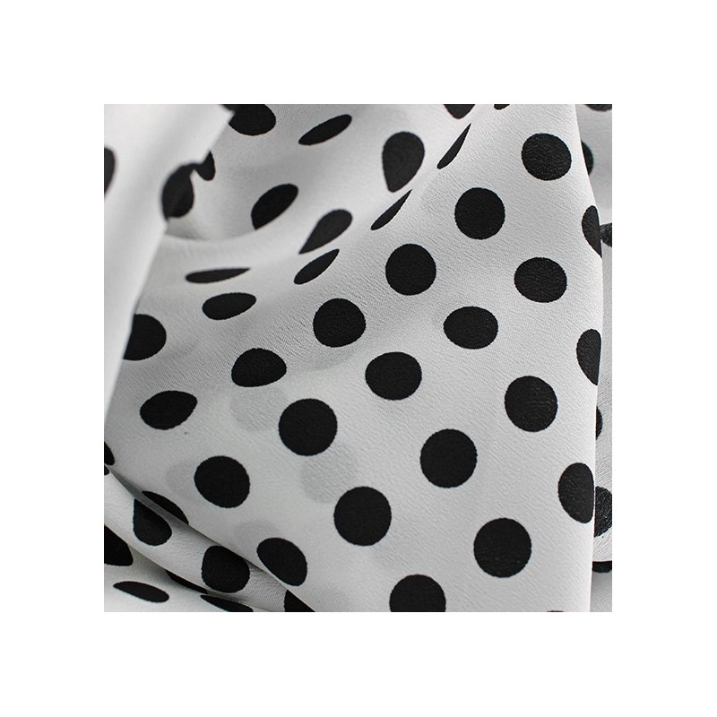 1eea97a34d0 Tissu Crêpe Pois noir sur fond blanc x 10cm - Ma Petite Mercerie