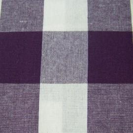 Tissu Vichy très grands carreaux aubergine x10cm
