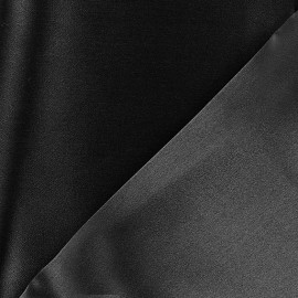 100% Silk Satin Crepe Fabric - Black x 50cm