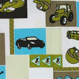 Tissu Popeline Éléphant multi fond lagon x 10cm