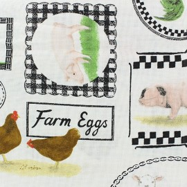 Cotton Fabric Farmers market animals x 10cm
