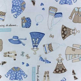 Dressing de charme Twill Cotton Fabric - blue x 10cm
