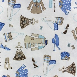 Dressing de charme Twill Cotton Fabric - blue/ecru x 10cm