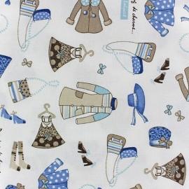 Tissu coton sergé Dressing de charme bleu/écru x 10cm