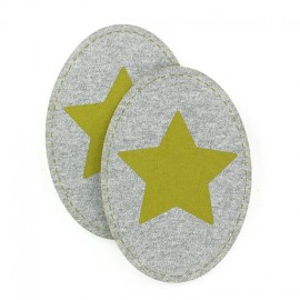 Jersey Elbow and knee patch with a yellow star - bronze/grey
