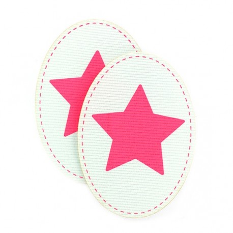 Velvet Elbow and knee patch with a fluorescent pink star - aqua