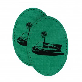 Canvas elbow and knee patch with a navy ship - green